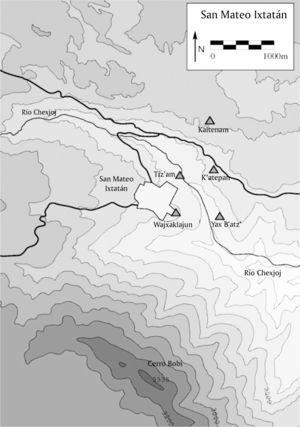 Map of San Mateo Ixtatán with archaeological sites (Drawing by Ulrich Wölfel)