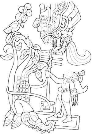 Estela 25 de Izapa, Chiapas. Dibujo de Oswaldo Chinchilla