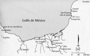 La Isla de Jaina y otros asentamientos costeros prehispánicos. Dibujo de Moisés Aguirre.