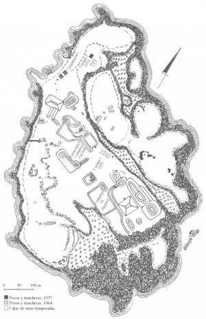 Ubicación de los pozos en las exploraciones de 1964. Modificado de Pina Chan, 1968.