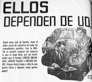 """Detalle anuncio: """"Ellos dependen de Ud."""", Novedades, 3 de junio de 1947, p. 10"""