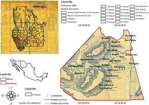 Distribución de los cantones del estado de Chihuahua en 1882, y territorio del cantón Balleza, con algunas de las localidades que lo componían4141Carta Geográfica del Estado de Chihuahua, formada por el ingeniero Enrique Barchesqui, 1881, Mapoteca Orozco y Berra, Clasificación: 1687-OYB 7214-A JPG, consultado el 10/11/2016 en web: w2.siap.sagarpa.gob.mx/mapoteca/mapas/1687-OYB-7214-A.jpg.