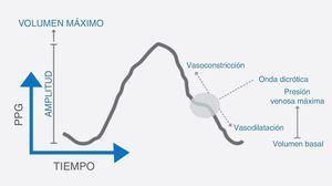 Forma de la onda fotopletismográfica y sus diferentes componentes relacionados con la fisiología cardiovascular del paciente. Tomada de Sahni1.