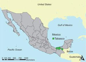 Location of the state of Tabasco in Mexico.