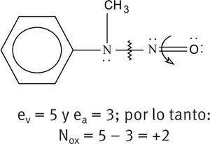 del mismo modo para el nitrgeno del grupo nitroso tenemos