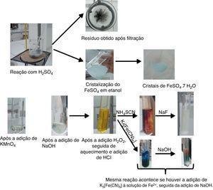 Imagens obtidas após a dissolução, filtração e testes qualitativos.