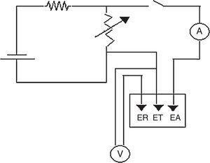 Diagrama eléctrico del potenciostato de bajo costo.