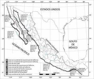 Clasificación de la zona costera de la vertiente del Pacífico mexicano y número de geoformas por región (modificado de Ortiz y de la Lanza, 2006), incluida la información de Lankford (1997), y Castañeda y Contreras (2003) y la del inegi (http://www.inegi.org.mx/inegi/default.aspx?s=geo&e=23).