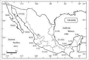 Número de lagunas costeras por vertiente según Castañeda y Contreras (2003).