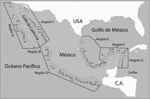 Número de lagunas costeras por regiones en México (tomado de Lankford, 1977).