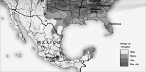 Riesgos de tornados (tomado de National Geographic (1998)). Fuente: base de datos tornados México, ciesas-ciatts.