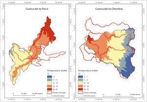 Mapa de temperaturas medias de las cuencas del río Porce y del Chinchiná.