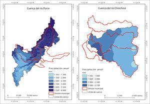 Mapa de precipitación media anual de las cuencas objeto de estudio.