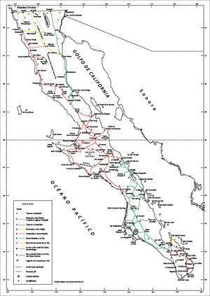 Las rutas propuestas en la Lower California Guidebook, donde solo se distinguen los caminos principales.