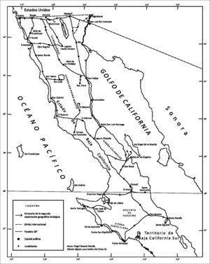 Los itinerarios de Ángel Bassols Batalla y Julio Villa en el estado de Baja California, 1958–1959.