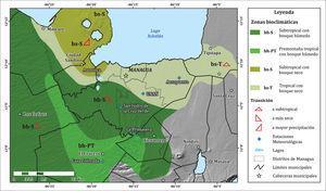 Zonas bioclimáticas de Managua (fuente: modificado de Castillo, 1992).