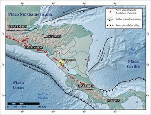Tectónica regional de América Central (fuente: modificado de Frischbutter (2002) y Avellán (2009).