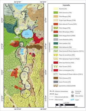 Mapa geológico de la porción central y sur del campo volcánico Nejapa y alrededores (Avellán, 2009).