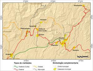 Red carretera de la region Sierra Nororiental de Puebla.