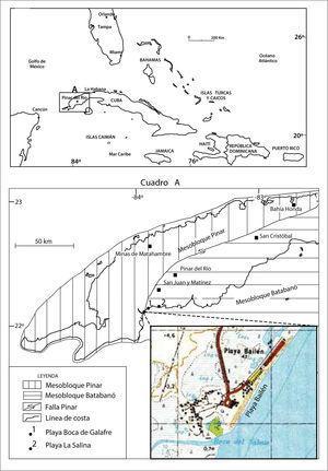 Ubicación del área de estudio en el contexto de las Antillas Mayores, Mar Caribe. Cuadro a: localización de la Playa Bailén en el macrobloque occidental.