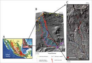 A) Localización de la zona de estudio; B) cuenca del río Blanco y localización de la zona de estudio y C) deslizamientos (en rojo) en la subcuenca del río El Estado.