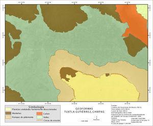 Mapa de Geoformas de Tuxtla Gutiérrez.