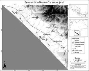 Polígono y zonas núcleo de la R.B. La Encrucijada, y límites del ejido Tzinacal en la costa de Chiapas. Figura 1.