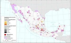 Contaminación química de suelos y sitios con Residuos Contaminantes (rp), 2013.