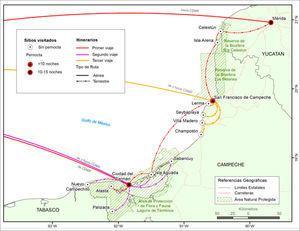 """Mapa de los itinerarios realizados en los trabajos de campo por el equipo del proyecto """"Organización del sector pesquero comercial ribereño en las áreas naturales protegidas del Estado de Campeche"""" a 31 de mayo de 2017."""