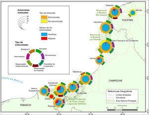 """Mapa de las entrevistas realizadas en los trabajos de campo por el equipo del proyecto """"Organización del sector pesquero comercial ribereño en las áreas naturales protegidas del Estado de Campeche"""" a 31 de mayo de 2017."""