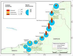 """Mapa de unidades económicas y embarcaciones en las zonas de estudio del proyecto """"Organización del sector pesquero comercial ribereño en las áreas naturales protegidas del Estado de Campeche"""" a 31 de mayo de 2017."""