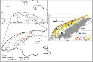 A: Ubicación geográfica. B: Representación esquemática del Macrobloque Occidental, modificado de Cabrera et al. (2012), donde (1) Mesobloque Pinar, (2) Mesobloque Habana-Matanzas y (3) Mesobloque Batabanó, (FP) falla Pinar de desplazamiento horizontal izquierdo, con componente normal, (FPS) falla Los Palacios de desplazamiento horizontal izquierdo, con componente normal, (FMC) falla Mariel-Carraguao. C: Formaciones geológicas presentes en la llanura Sur de Pinar del Río, modificado del Instituto de Geología y Paleontología de Cuba (2006): 1. Depósitos palustres (Q2 am), 2. Depósitos aluviales (Q2 alv), 3. Formación Guevara (Q11-2 gv), 4. Formación Guane (N22-Q11 gne), 5. Formación Paso Real (E32-N12 psr), 6. Formación Capdevila (E21 cp), 7. Formación Universidad (E21-E22 un), 8. Formación Loma Candela (E22-E23 lc), 9. Formación Mariel (E11-E21 ml), 10. Formación Vía Blanca (K5-K6 vb).