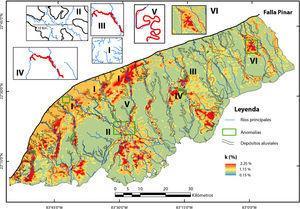 Mapa espectrométrico del canal de potasio (en %), con las localizaciones de las principales anomalías de la red de drenaje y los límites de los sedimentos aluviales.