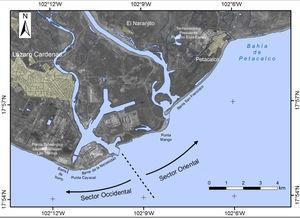 Sectores del frente deltaico del río Balsas.