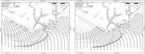 Plano de oleaje distante del oeste, para 11 y 14 segundos. Fuente: Puertos Mexicanos (1991).