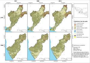 Cobertura y uso de suelo en las cuencas Arroyo Seco (CAS) y María García (CMG) en los años 1971, 1996 y 2014.