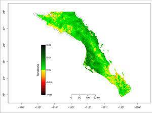Valores de la tendencia del NDVI (valor de la pendiente de la recta de regresión de cada serie) para el periodo 2001-2015 para cada pixel de 250 x 250 m. Se muestran los polígonos (líneas punteadas) de la Reserva de la Biosfera del Vizcaíno en el norte y la Reserva de la Biosfera Sierra La Laguna en la porción sur.