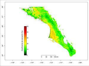 Coeficiente de variación del NDVI para el periodo 2001-2015 para cada serie de tiempo en cada pixel de 250 x 250 m. Se muestran los polígonos (líneas punteadas) de la Reserva de la Biosfera del Vizcaíno en el norte y la Reserva de la Biosfera Sierra La Laguna en la porción sur.