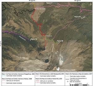 Mapa de rutas de trabajo de campo y sitios de muestreo en el volcán Popocatépetl del 2006 al 2017. Fuente: datos GPS y ArcMap 10.2.2. Cartografía: Osvaldo Franco Ramos.