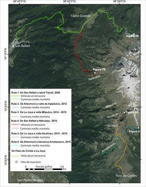 Mapa de rutas de trabajo de campo y sitios de muestreo en el volcán Iztaccíhuatl del 2008 al 2016. Fuente: datos GPS y ArcMap 10.2.2. Cartografía: Osvaldo Franco Ramos.