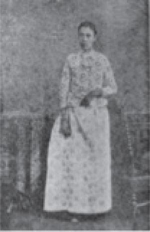 """También ella es Guadalupe Vargas, sólo que aquí recuerda que un día le fue asignado el sexo femenino. """"Guadalupe Vargas"""" (Roumagnac 1904)."""
