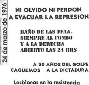 """Volante de """"caguemos a la dictadura"""" (24 de marzo de 1996). Fuente: Archivo Potencia Tortillera."""