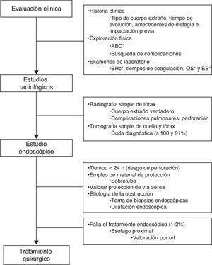 Evaluación del paciente con impactación alimentaria. ABC: vía aérea, ventilación y estabilidad hemodinámica; BHc: biometría hemática completa; ES: electrolitos séricos; orl: otorrinolaringología; QS: química sanguínea.