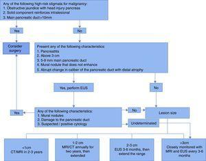 Algorithm for diagnosis of cystic pancreatic lesions.