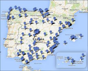 Mapa de distribución geográfica de los hospitales que respondieron a la encuesta.