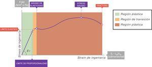 Curva stress-strain. EY: módulo de elasticidad de Young. Fuente: reproducida con permiso de Modesto-Alapont V, et al.5.