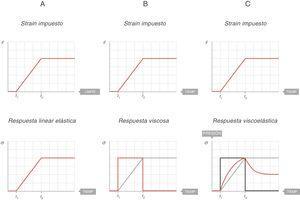 Comportamiento elástico, viscoso y viscoelástico. Fuente: reproducida con permiso de Modesto-Alapont V, et al.5.