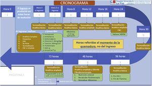 Cronograma de tratamiento para el paciente quemado crítico. EKG: electrocardiograma; FBC fibrobroncoscopia; HPBPM: heparina de bajo peso molecular; NAD: noradrenalina; SCQ: superficie corporal quemada.