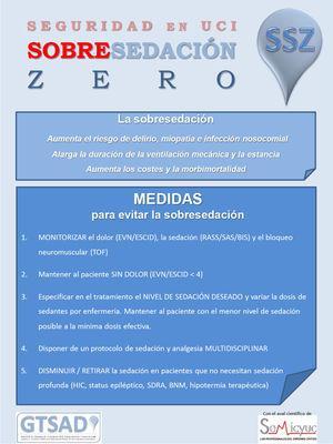 Poster divulgativo «Sobresedación Zero» con el paquete de medidas para evitar la sobresedación.