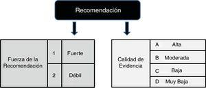 Fuerza y grado de recomendación según metodología GRADE.